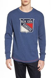 American Needle 'S New York Rangers Embroidered Long Sleeve Thermal Shirt Navy