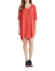 Karen Kane Three Quarter Sleeve Shift Dress Tomato