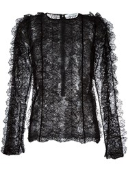 Givenchy Ruffled Lace Long Sleeve Top Black