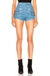 Balmain Pierre Denim Short In Blue