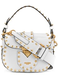 Moschino Studded Satchel Mini Bag White