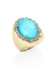 Alexis Bittar Elements Turquoise And Crystal Ring Gold Turquoise
