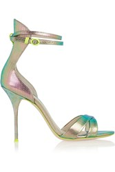 J.Crew Sophia Webster Nicole Textured Leather Sandals Green