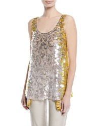Valentino Sleeveless Scoop Neck Sequined Paillette Top Silver