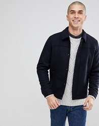 Only And Sons Wool Mix Harrington Navy