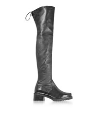 Stuart Weitzman Vanland Black Stretch Leather Over The Knee Boots W Brown Sole