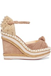 Christian Louboutin Madcarina 120 Studded Jute And Suede Wedge Sandals Beige