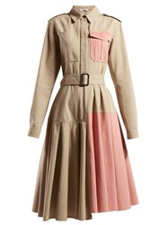 Jw Anderson Belted Panelled Cotton Shirtdress Pink Multi