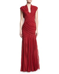 Mignon Ruched Foil V Neck Gown Red