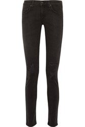 Rag And Bone Mid Rise Distressed Skinny Jeans Black