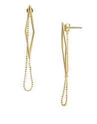 Lord And Taylor Sterling Silver Geo Chain Drop Earrings Gold