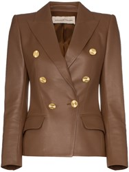 Alexandre Vauthier Double Breasted Leather Blazer Brown