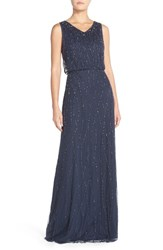 Women's Candela 'Antibes' Beaded V Neck Gown Navy