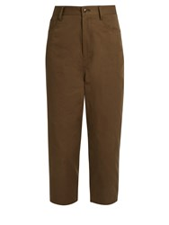 Yohji Yamamoto Distressed Dot Cropped Cotton Drill Trousers Khaki