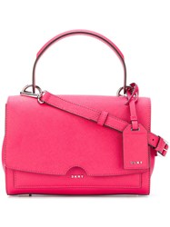 Dkny Foldover Tote Bag Women Leather One Size Pink Purple