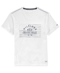 Tommy Hilfiger Men's Thunder Boost Graphic Print V Neck T Shirt Classic White