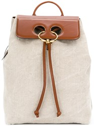 J.W.Anderson Jw Anderson Pierce Leather Flap Backpack Linen Flax Leather Metal Other Nude Neutrals