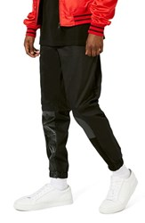 Topman Men's Aaa Collection Faux Leather Panel Slim Jogger Pants