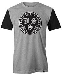 Famous Stars And Straps Men's Rosa Swap Print Logo Cotton T Shirt Charcoal Black