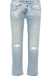 R 13 R13 Cropped Distressed Mid Rise Boyfriend Jeans Light Denim