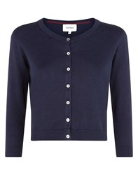 Havren Cropped Crew Neck Cardigan Navy