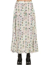 Zadig And Voltaire Printed Viscose Long Skirt Beige