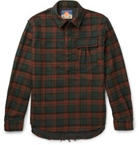 Blackmeans Slim Fit Checked Cotton Flannel Shirt Red