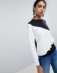 B.Young Ruffle Colour Block Jumper Off White