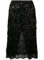 Alessandra Rich Sequin Embellished Lace Skirt Black