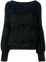 Liu Jo Long Sleeve Striped Sweater Black