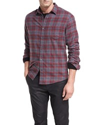 Vince Shadow Plaid Cotton Shirt Red H Grey