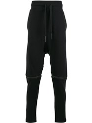 Barbara I Gongini Zipped Knees Drop Crotch Trousers Black