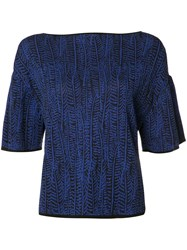 Maison Ullens Boat Neck Knitted Top Blue