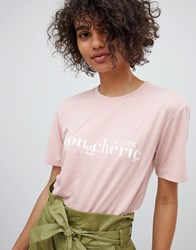 Neon Rose Relaxed T Shirt With Mon Cherie Print Pink