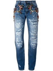 Dolce And Gabbana Embellished Ripped Boyfriend Jeans Blue