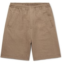 Margaret Howell Linen And Cotton Blend Twill Drawstring Shorts Neutrals