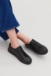 Cos Rubber Detailed Leather Sneakers Black