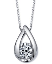 Sirena Diamond Teardrop Pendant Necklace 1 5 Ct. T.W. In 14K White Gold
