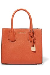Michael Michael Kors Mercer Messenger Textured Leather Tote Bright Orange