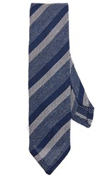 Thomas Mason Stripe Knit Tie Blue White
