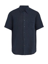 120 Lino Short Sleeved Linen Shirt Dark Navy