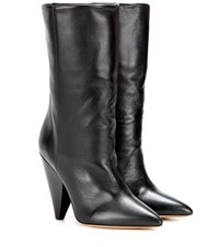 Isabel Marant Lexing Leather Ankle Boots Black