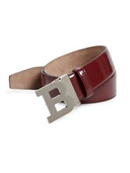 Bally Logo Buckle Calf Leather Belt Dark Red