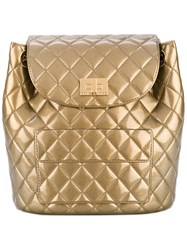 Designinverso Quilted Backpack Women Pvc One Size Metallic