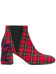 Pollini Tartan Ankle Boots Red