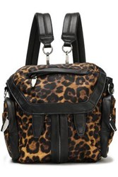 Alexander Wang Woman Leather Trimmed Leopard Print Shell Backpack Animal Print