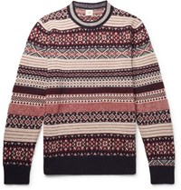 Kent And Curwen Davidstow Fair Isle Wool Alpaca Blend Sweater Burgundy