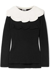 Red Valentino Redvalentino Ruffled Two Tone Cotton Sweater Black