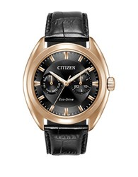 Citizen Paradex Eco Drive Stainless Steel Analog Leather Strap Watch Black