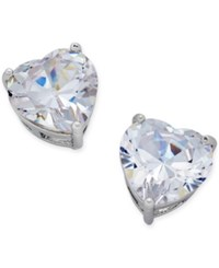 Thalia Sodi Silver Tone Crystal Heart Stud Earrings Only At Macy's
